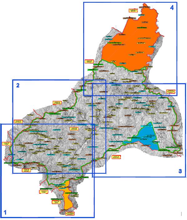 La mappa relativa al comprensorio del Consorzio dei funghi di Rezzoaglio, stagione 2016