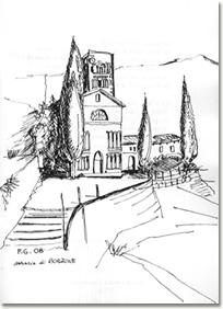 L'Abbazia di Borzone in un disegno di Giovanni Ferrero