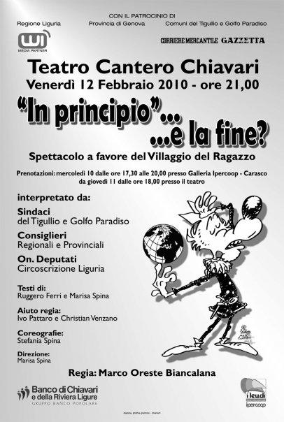 Spettacolo 'In principio... e la fine?', Chiavari, 12 febbraio 2010