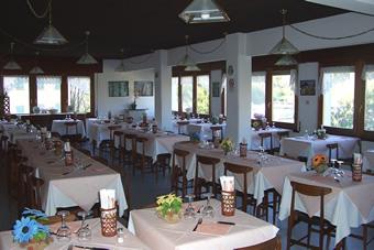 La sala da pranzo dell'Albergo Americano