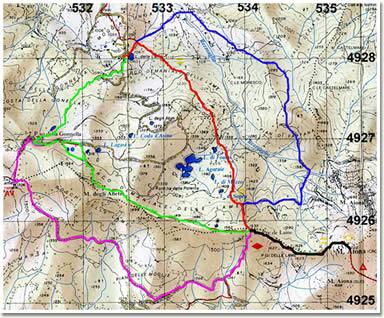 L'Aiona dal Lago delle Lame: carta indicante gli itinerari descritti nell'articolo