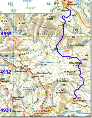 Cartina indicante il tracciato