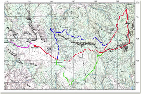 Penna - Aiona: carta indicante gli itinerari descritti nell'articolo