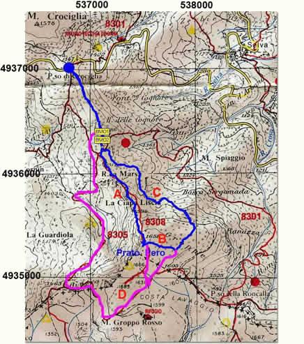 Ciapa Liscia: carta indicante gli itinerari descritti nell'articolo