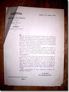 Circolare della Prefettura di Genova - 14 gennaio 1873