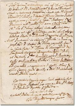 Il documento del 1692 attestante l'esistenza della presunta pieve di San Giovanni di Nascio