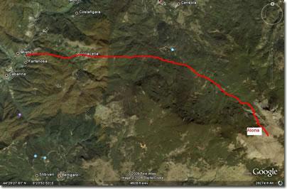 Il percorso da Farfanosa ad Aiona vetta