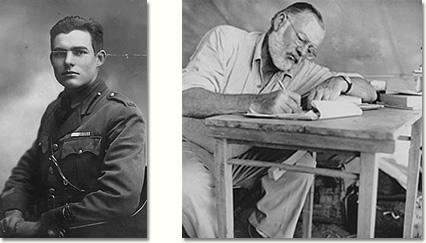 Ernest Hemingway nel 1918 e nel 1953
