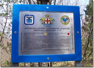 Targa commemorativa presente lungo il 'Sentiero della Resistenza'